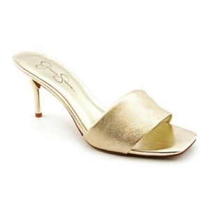 Jessica Simpson Clarina Metallic Gold Heel Sandals